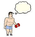 cartoon man lifting weights with thought bubble vector image