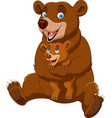 cartoon mother and baby brown bear vector image vector image