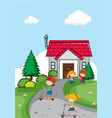 children in front of house vector image vector image