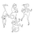 coloring book set monkeys in different poses vector image