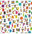 cute colorful seamless with english alphabet vector image vector image