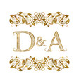 d and a vintage initials logo symbol the letters vector image vector image
