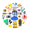 diver with diving equipment vector image