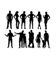 family and standing people silhouettes vector image vector image