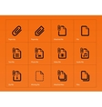file clip icons on orange background vector image vector image