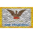 Flag of San Francisco on a brick wall vector image