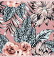 flowers leaves seamless pattern pink background vector image