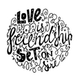 font for frendship white background vector image