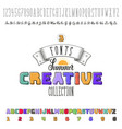 font handmade -summer- colorful modular and hand vector image