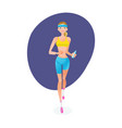 girl engaged in track jogging around city vector image vector image