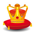 gold crown with precious stones on red pillow vector image