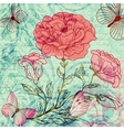 Grungy retro background with roses and butterflies vector image vector image