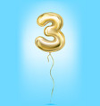 high quality image of gold balloon digit 3 three