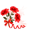 Holiday background with beautiful red roses and a vector image vector image