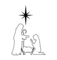 holy family silhouette christmas characters vector image vector image