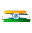 indian tricolor flag in ribbon style vector image vector image