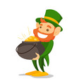 leprechaun in green costume holding pot of gold vector image vector image