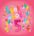 look whos five fifth birthday card vector image vector image