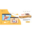 man woman holding beer mugs oktoberfest party vector image vector image