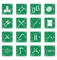 ninja tools icons set grunge vector image