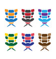 office colorful armchairs set design template vector image