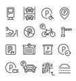 parking line icon set place to leave a vehicle vector image