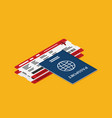 passport with tickets icon isometric isolated on vector image vector image