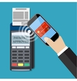 Payments using terminal and smartphone vector image vector image