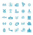 portugal travel icons set outline thin icons vector image vector image