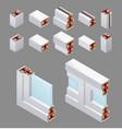 pvc windows isometric elements vector image vector image