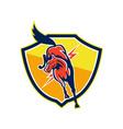Red Horse Jump Lightning Bolt Shield Retro vector image vector image