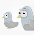 sad funny pigeon in cartoon style cartoon vector image