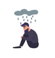 sad man sits in the rain sadness dreary lonely vector image