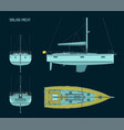 sailing yacht color blueprints vector image vector image
