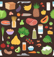 seamless pattern with colored vegetables healthy vector image