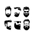 set bearded men faces hipsters with haircuts vector image