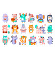 stylized funky animals birthday party sticker set vector image vector image