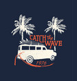 surf beach vacation in retro surf style for summer vector image