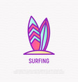 surfing thin line icon modern vector image