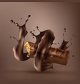 sweet chocolate bar with spiral melted chocolate vector image vector image