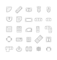 top view furniture icons set vector image vector image