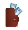 travel tickets inside elegant wallet object vector image vector image