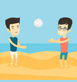 two men playing beach volleyball vector image vector image
