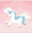 unicorn pink clouds stars decoration fantasy magic vector image vector image