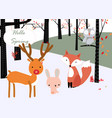 wildlife animal in spring forest vector image vector image