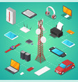 wireless technologies isometric 3d set vector image vector image