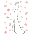 Woman in a long dress among roses vector image vector image