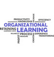 word cloud - organizational learning vector image vector image