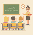 young teacher with students on a lesson children vector image vector image