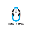 Zero number icon and light bulb abstract logo vector image